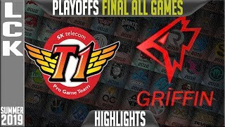 SKT vs GRF Highlights ALL GAMES | LCK Summer 2019 Playoffs Grand-Finals | SK Telecom T1 vs Griffin