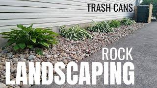DIY Rock Landscaping Idea | River Rock | No Fabric | Hide Trash Cans