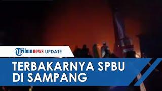 Kebakaran Hebat di SPBU Sampang, Diduga akibat Ada Puntung Rokok di Mesin BBM, 4 Motor Terbakar