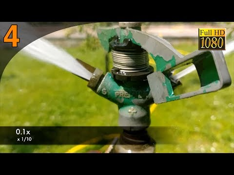 Rotating pulsating sprinkler - Irrigatore rotante a battente - Slow motion Full HD