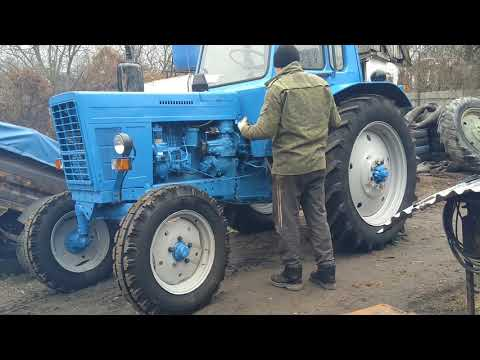 МТЗ-80. Запуск трактора с  ПД-10У (пускачем) видео