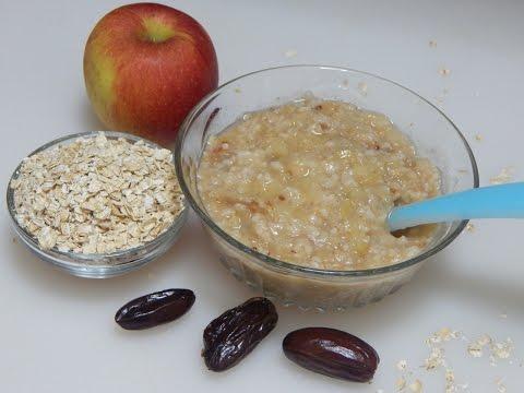 Video Healthy Baby Food Recipe - Oats Apple Porridge l Oatmeal with Apple & Dates l 8+ months