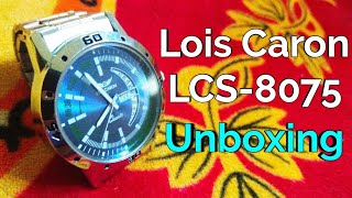 50cece40215 Lois Caron LCS-8075 BLUE DIAL DAY   DATE FUNCTIONING Watch - For Men  unboxing