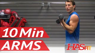 HASfit's 10 Minute Arm Workout at Home with Dumbbells - Arm Exercises for Biceps and Triceps by HASfit