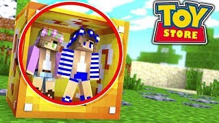 TRAPPED INSIDE A MYSTERY BOX!! Minecraft ToyStore | w/Little Carly and Little Kelly.