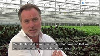 Band filtration of drain water to reach zero emission greenhouse cultivation