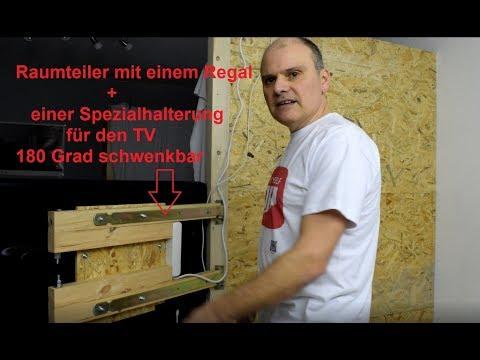 Raumteiler mit einem Regal bauen + selbst gebaute TV halterung für 180 Grad