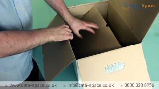 How to fold a DataSpace archive storage box and lid