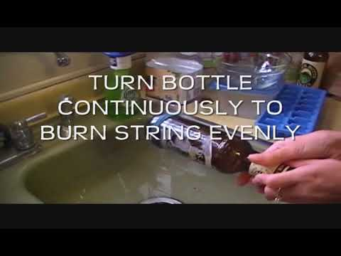 Cut A Glass Bottle Using Nail Polish, String And Fire