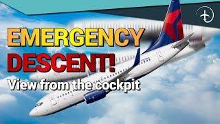 Emergency descend!! Cockpit video