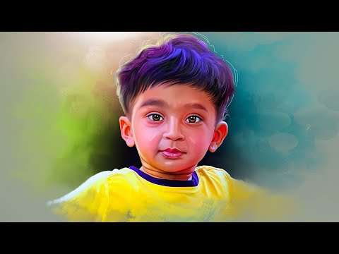 digital painting of a kid timelaspe video by prashant arts