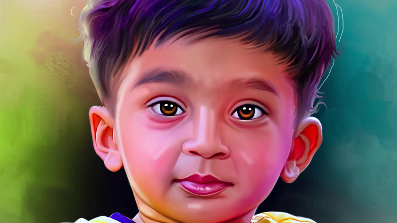 digital painting of a kid timelaspe video by prashant arts