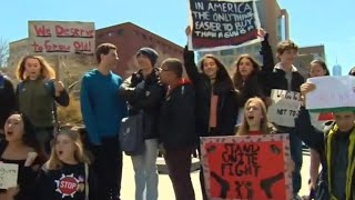 Students walk out of school to call for gun control on Columbine anniversary