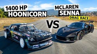 Ken Block's 1,400hp AWD Ford Mustang Hoonicorn Vs a McLaren Senna Merlin // Hoonicorn Vs the World