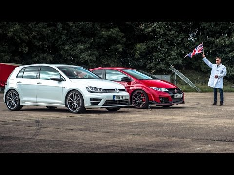 Honda Civic Type R vs VW Golf R | Top Gear: Drag Races