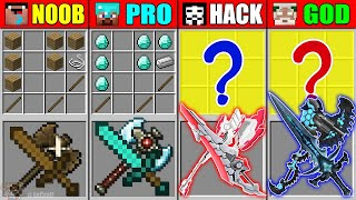 Minecraft NOOB vs PRO vs HACKER vs GOD ABILITY SWORD AXE CRAFTING CHALLENGE in Minecraft Animation