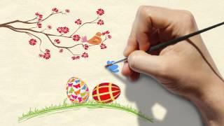 Рисованная видео-открытка к Пасхе