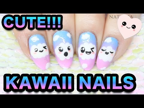 KAWAII NAIL ART - CUTE CLOUD FACES & RAINBOW SPONGING