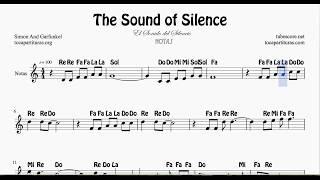 El Sonido del Silencio Partitura con Notas en letra Violin Flautas Oboes