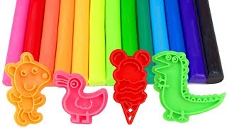 Play Doh Learn Colors with Fun Molds Modelling Clay Mickey Mouse Ice Cream Dinosaur Duck Teddy Bear