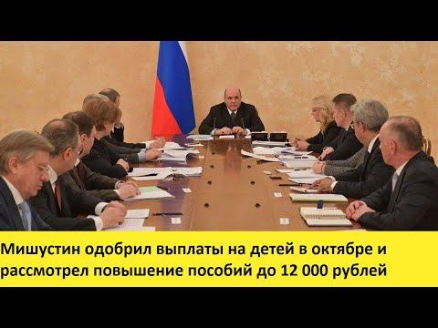Мишустин одобрил выплаты на детей в октябре и рассмотрел повышение пособий до 12 000 рублей