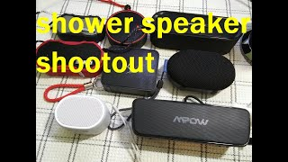 Budget Bluetooth Shower Speaker Shootout. Sony XB01, Altec Lansing Baby Boom XL, MPow R6, Q2 & more.