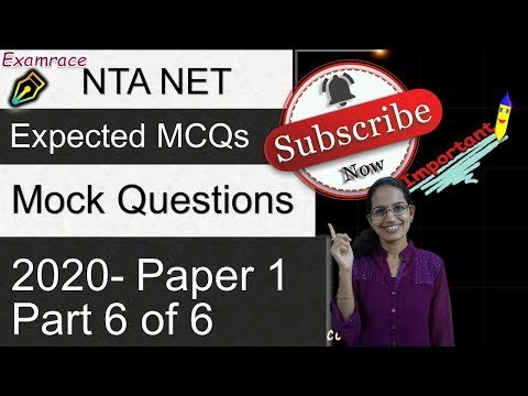 Most Expected MCQs NTA NET Paper 1 June 2020 | Mock Test ...