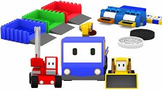 Les blocs de couleur   Apprendre les couleurs avec Tiny Trucks: bulldozer, grue, tractopelle