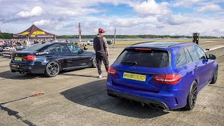 740HP Mercedes C63S AMG vs 800HP BMW M3 F80 1/2 Mile Topspeed Dragrace