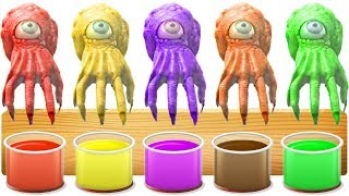 Learn colors Creepy Hand OCTOPUS COLOR PAINTING Old macdonald had a farm nursery rhyme with actions
