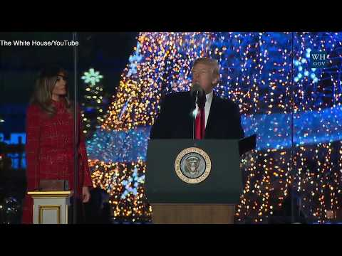Trump wishes 'Merry Christmas' at White House tree lighting
