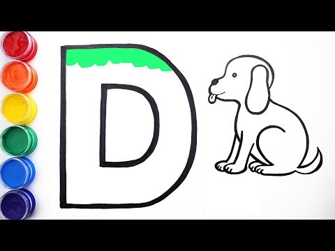 Glitter Alphabet D, Dog Drawing, Coloring | Learn Colors for Kids, Toddlers | Fun Fun Family Art