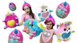 Mягкие игрушки для детей RainBoCorns surprise (Реинбокорнс). Распаковка. Огромное яйцо СЮРПРИЗ