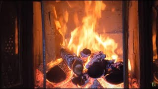 crackling fireplace with relaxing piano music - TH-Clip