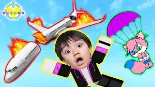WE JUMPED FROM THE PLANE! Roblox Escape the Plane Crash Obby Let's Play with Ryan Vs Alpha Lexa