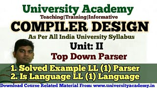 L22:Compiler Design Tutorial, Construction of Predictive LL(1) Parsing Table Example  in Hindi