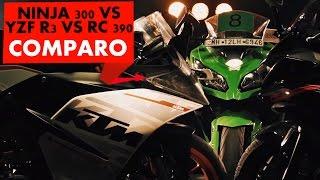 KTM RC390 vs Kawasaki Ninja 300 vs Yamaha YZF R3 | Comparison Test | PowerDrift