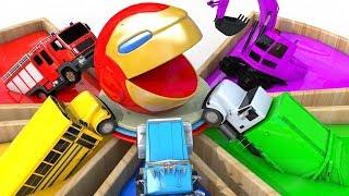 Learn Colors PACMAN Iron Man Street Vehicles Surprise Toy Colours Magic Liquids for Kid