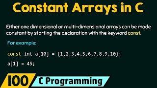 Constant Arrays in C