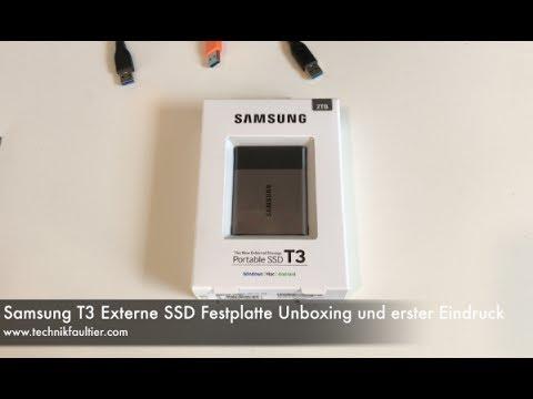 Samsung T3 Externe SSD Festplatte Unboxing und erster Eindruck