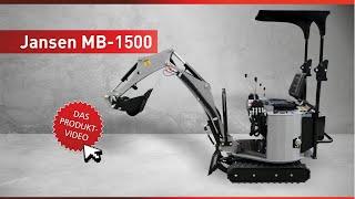 Minibagger, Microbagger MB-1500. Komplettset inkl. Schaufeln, Greifer & Reißzahn