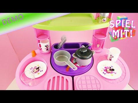 Wir spielen Minnie Mouse Puppenküche mit süßem Geschirr und niedlichen Stickern | Demo