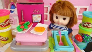 Baby Doll cake and play doh cooking play baby Doli house