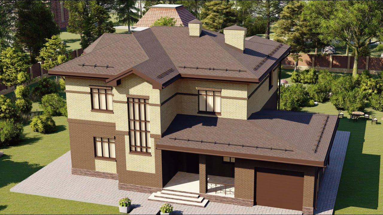 Проект большого двухэтажного дома из пеноблока с гаражом 227 м2