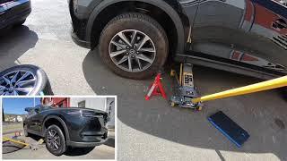 Wagenheber ansetzen Auto aufbocken PKW anheben und mit Böcken Sichern Mazda CX-5 vorne Anleitung