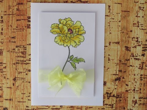 Clean and Simple Peony card 2