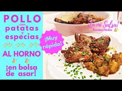 Pollo al horno con patatas y especias en bolsa de asar