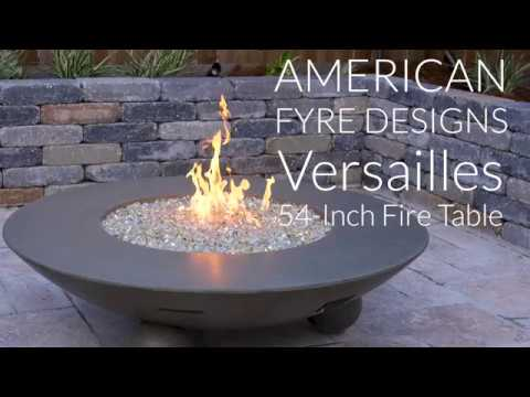 American Fyre Designs Versailles 54-Inch Fire Table With Ball Feet - Smoke