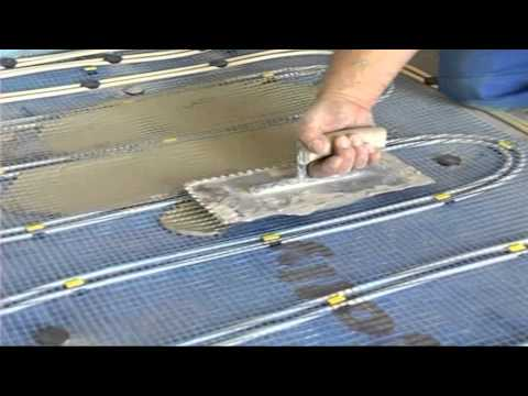 Verlegung Aquaheat Warmwasser-Fußbodenheizung