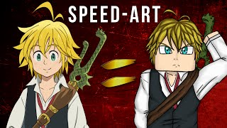 Speed Art: Minecraft Style Anime Drawing | Caetanoo (Meliodas Skin)